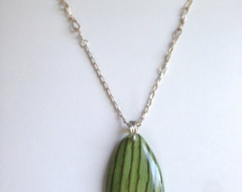 Green Striped Glass Pendant Necklace - Upcycled hot shop scrap on silver chain