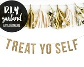 Gold Glitter diy Banner. TREAT YO SELF Bachelorette Banner Glitter Garland.  Bridal shower decor. Birthday Party. Wedding Shower.