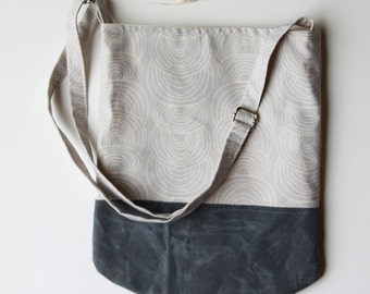 Sling Bag in Gray with Waxed Canvas Base
