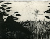 Original Etching: 'Medusa, Scarecrow' - Medusa and the crows, from an edition of 18 prints.