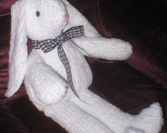 White chenille rabbit