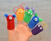 Rainbow Monster Finger Puppets (5-pack)