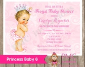 Custom Printed Shabby Chic Vintage Princess Baby Shower Invitations - Any hair color - 1.00 each with envelope