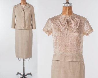 Mid Century Suit, 1950s Vintage Jablow Three Piece Silk Suit, Natural Oatmeal Beige Cropped Jacket with Pencil Skirt