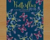 Butterflies 2016 Desk Calendar with Clear CD-Sized Case/Stand