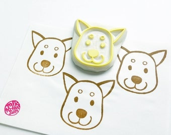 shiba inu dog stamp. puppy dog hand carved rubber stamp. woodland animal pet stamp. DIY birthday holiday scrapbooking. gift wrapping. large