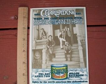 Vintage  Concert Postcard The Charlatans Canned Heat Sparrow Avalon Ballroom San Francisco 1967