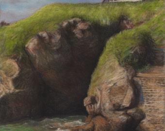 """Original pastel landscape (ref 150312) : """"Le palais"""""""