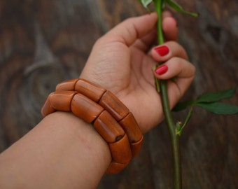 Caramel: Beautiful Tagua Nut Bracelet, Tagua River Beads Collection, Eco-Friendly Jewelry, Vegetable Ivory, Eco friendly / Gifts, Brown