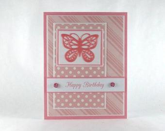 Birthday card, butterfly, butterflies, pink, girls birthday, women, woman, feminine