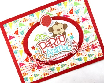 Kids birthday card, monkey, childrens birthday, happy birthday, party balloons
