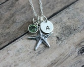 Sterling silver starfish charm necklace, Swarovski Crystal Birthstone and Sterling Silver Initial Disk Personalized, Hand Stamped