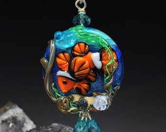 Clown Fish Aquarium original custom handmade lampwork ocean fish pendant SRA