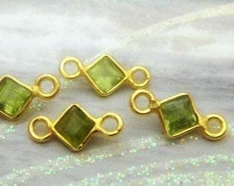 24kt Vermeil Bezel Connectors, Peridot Diamond Gemstone Links 4mm, Faceted Birthstone Charms Pendants,(10x4mm with loops) BULK WHOLESALE,