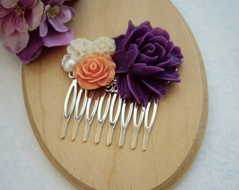 Dark Purple, Orange, Ivory Flower, Rustic Vintage Style Silver Plated Hair Comb. Orange and Purple Comb. Bridesmaid Gift. Silver Plated Comb