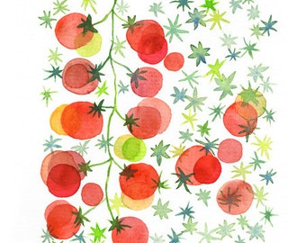 Red cherry tomato fruit art watercolor painting reproduction, Watercolor fruit, Kitchen decor, Garden fruit painting, Kitchen art poster