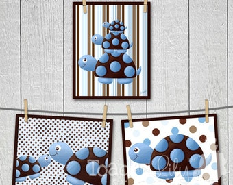 Set of 3 Mod Turtle Children's ART PRINTS Room Decor
