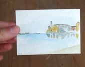 aceo landscape seascape mini painting houses at the bay of silence watercolor