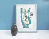 New York City Map Digital Art Print - Manhattan Map Wall Art, A3 / A4