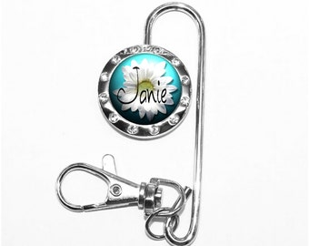 White Daisy Key Finder - Personalized Floral Purse Keychain with Blue Sky and Flower (A157)