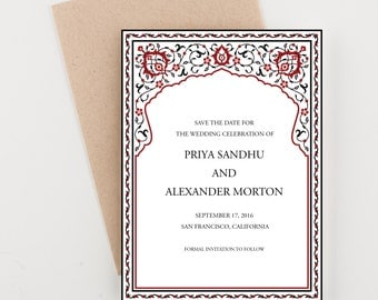 Indian Floral Frame Save The Date, Red and Black,  Wedding Announcement or Bridal Shower