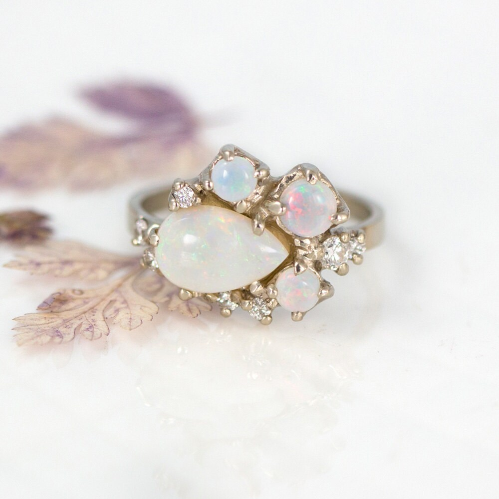 opal cluster ring gold with diamonds a white opal ring in