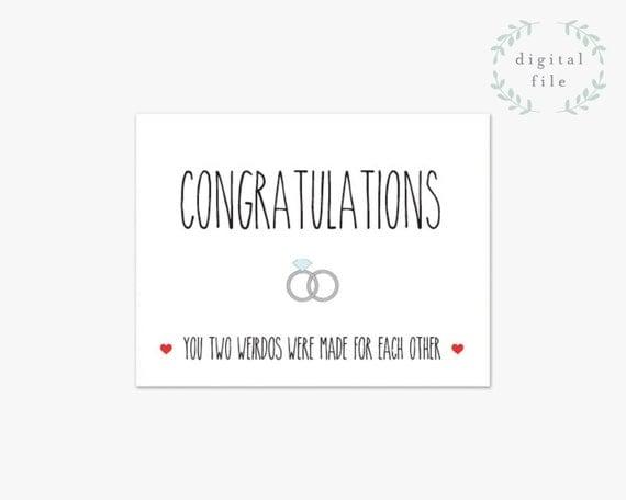 Funny Wedding Card Printable // Congratulations Card //