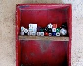 Vintage Wood Crate Box Rustic Chippy Decor RED Painted Wooden Shelf Box Container Creative Storage, Instant Collection Assorted Dice Pieces