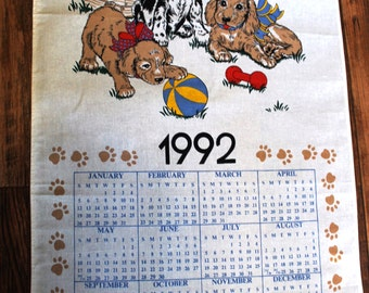 1992 B&D Tea Towel Calendar, Puppies and Doghouse