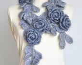 Heavy Duty Rose - Grey - Crochet Rose and Leaf Lariat/Scarf