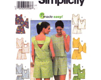Criss Cross Strap Top & Shorts Pattern Simplicity 7132 Tank Top Pull On Shorts Womens Size 4 6 8 Sewing Pattern UNCUT