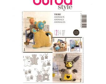 Stuffed Animal Sewing Pattern Burda 7545 Teddy Bear & Bunny Rabbit 10 to 45 inches UNCUT