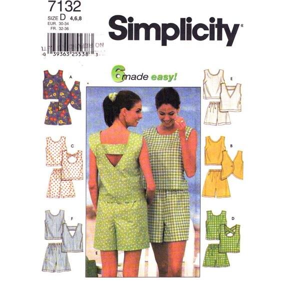 Criss Cross Strap Top & Shorts Pattern Simplicity 7132 Womens Size 4 6 8