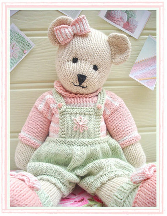Jumper Knitting Pattern For A Teddy Bear : CANDY Bear/ Toy/ Teddy Bear Knitting Pattern/ by maryjanestearoom