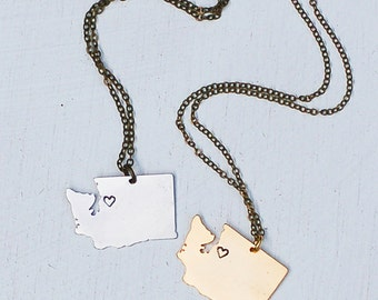 Seattle Love Washington State Necklace Pacific Northwest Travel Map Necklace Seattle Souvenir