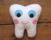 Tooth Fairy Pillow - Tooth Holder- Dentist Gift - Dental Hygienist Gift - With back pocket - Tooth Plush Pillow - Tooth Fairy Cushion