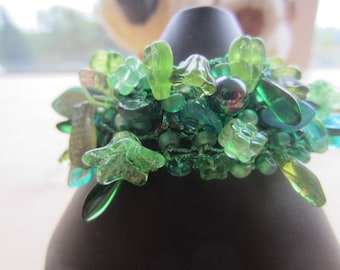 Green Knitted Bead Cuff....FREE SHIPPING