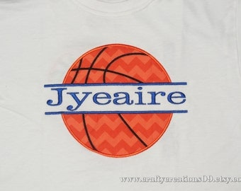 "Embroidered Iron On Applique  "" Personalized Basketball"""