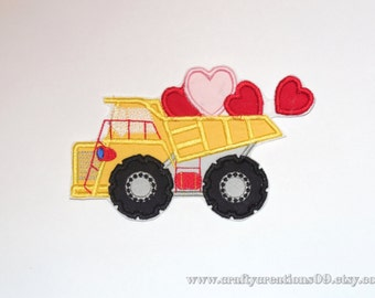 "Embroidered Iron On ""Valentine Dumptruck"""