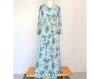 BLUEBELL // pale blue floral 70s maxi dress