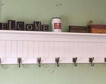 "Coat Rack Wood Country Wall Shelf White 53"" Wide Display Wall Shelf Hanging Antique Iron Hooks"
