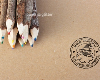 Personalized Rubber Stamp Santa Claus Christmas Round Circle Make Your Own Cute Text (Wood Engraved or Self Inked) 0149