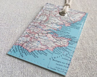London England luggage tag made with original vintage map