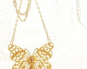 Golden Butterfly Necklace - Filigree Butterfly - Wings - Woodland - Take Flight Butterfly - As Seen On Etsy Front Page