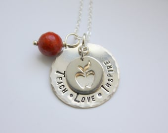 Silver Teacher Necklace - Gift For Teacher - Teach Love Inspire - Silver Apple Necklace - Gift From Students - Teacher Necklace