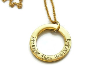 Stronger Than Yesterday Necklace - Gold Motivation Necklace - Gold Strength Necklace - Gold Stronger Necklace - Gold Fitness Necklace