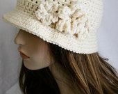 Flapper Inspired Hat Womens Crochet Hat Aran Cloche Hat Brimmed Beanie Fall and Winter Fashion
