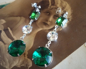 Swarovski crystal turmaline green and vintage emerald green rhinestone earrings