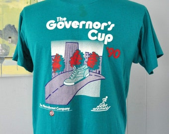Vintage Road Race Tshirt Governors Cup SC 1990 Running Athletic 90s Tee teal Blue MEDIUM