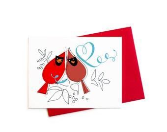Valentine Love Birds, Cardinal Valentines, Love Cardinals Boxed Greeting Card Set